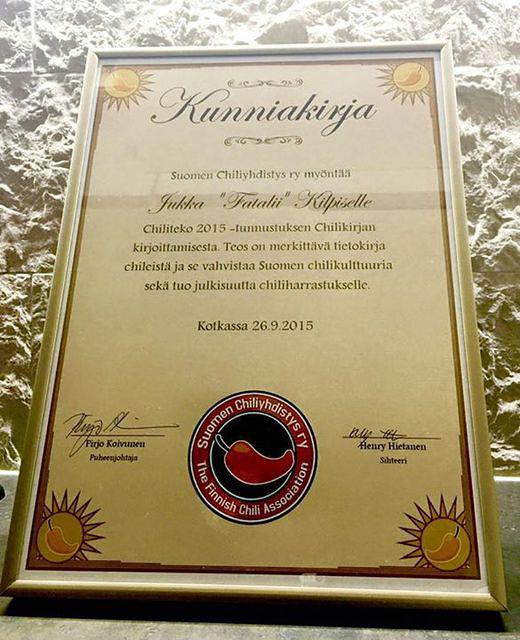 I'm very excited to tell that Chili pepper association of Finland send me this diploma for CHILIKIRJA book project