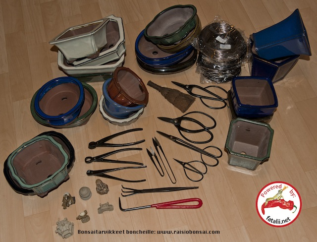 Bonsai pots and tools